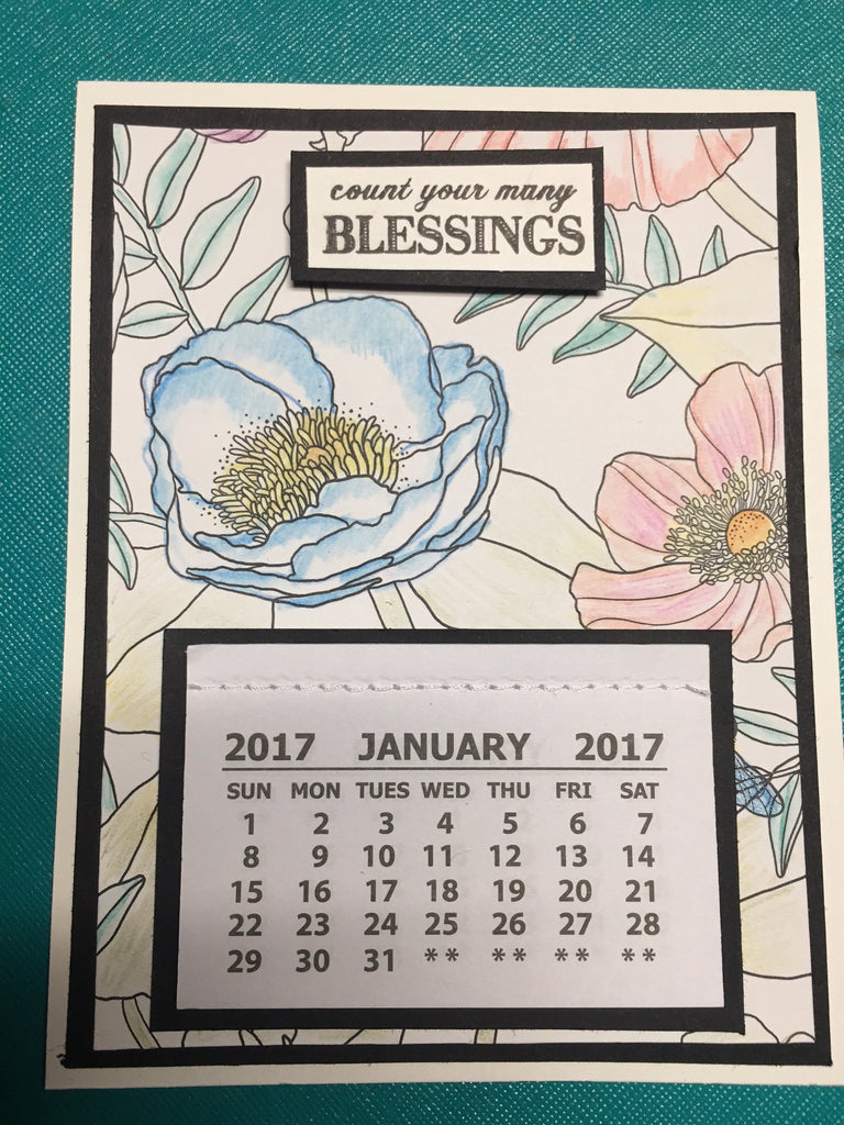 Coloring Book Calendar Card by Crystal Cleveland