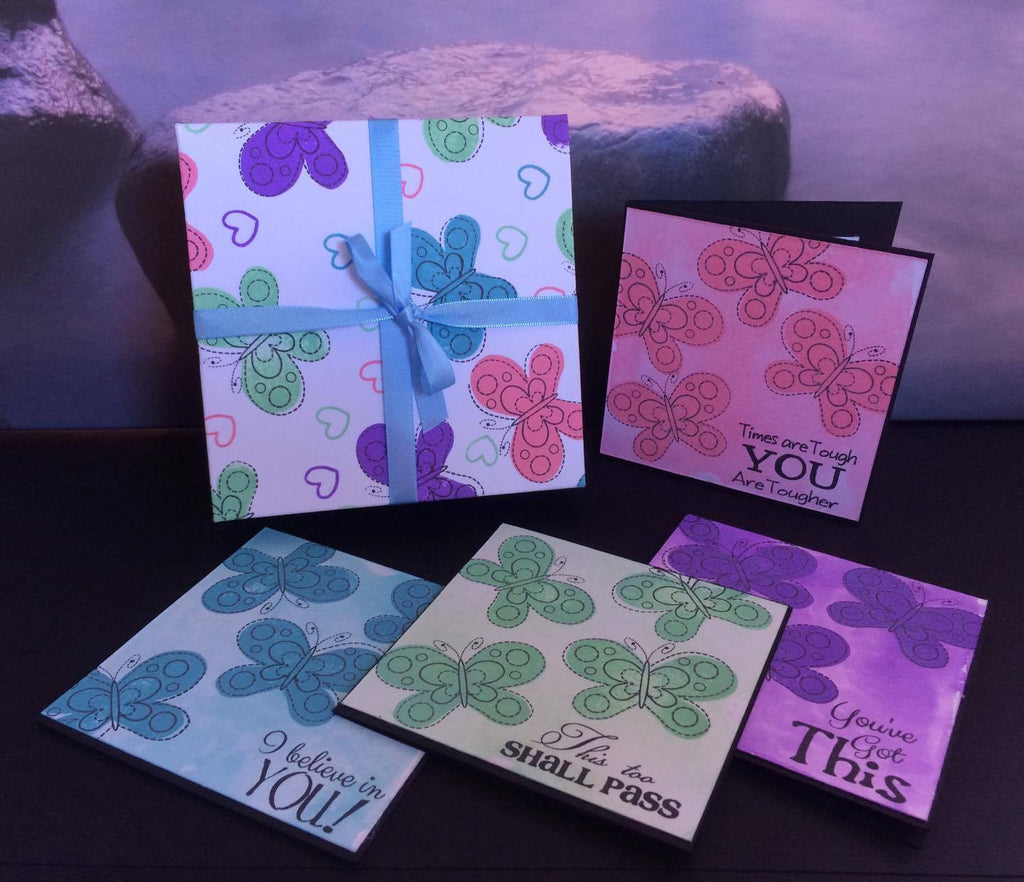 'Chin up' 4x4 Cards with matching gift box