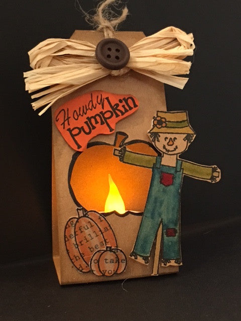 Table Top Scarecrow Tea Light By Crystal Cleveland