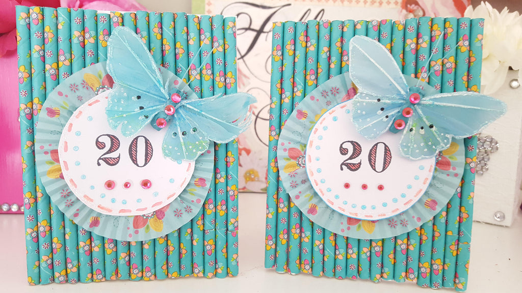 Butterfly & Straws Birthday Card
