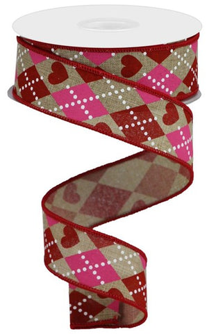 Argyle Hearts On Royal Ribbon {HD R24}