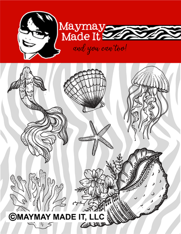 Marine Life 4x4 Stamp Set {A22}
