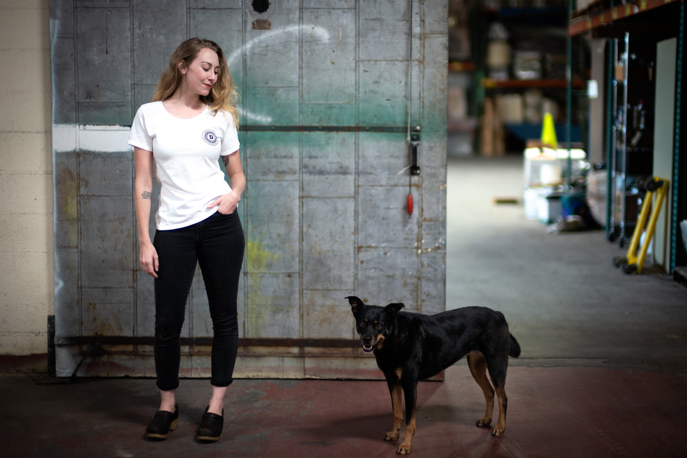 Daedalus Design | Women's Fine Scoop Shirt - Eggshell White + Doge