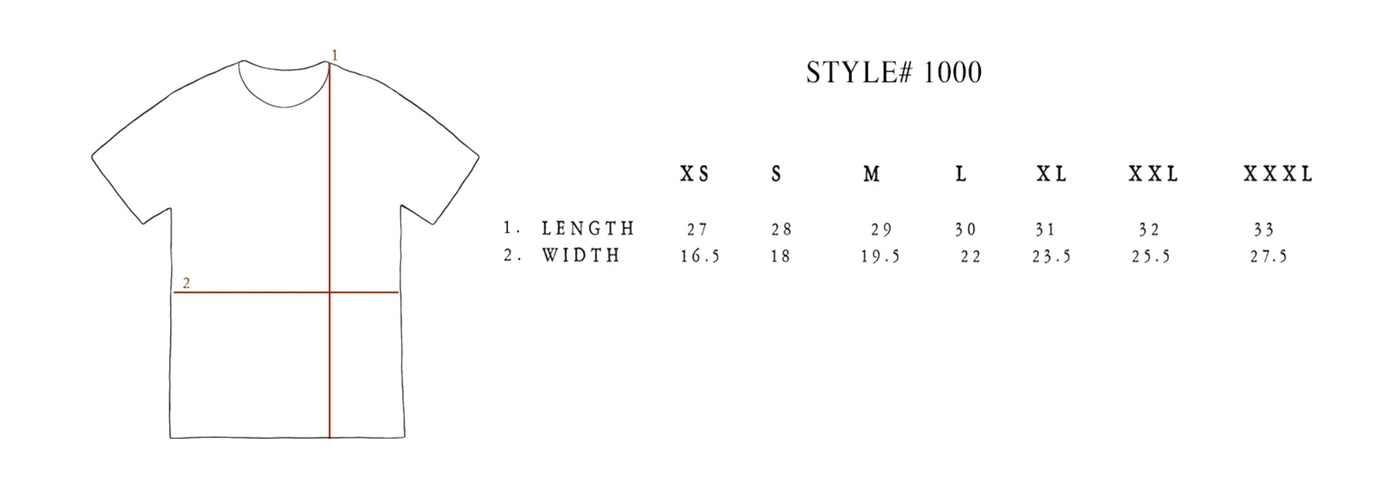 Sizing Guide for the Daedalus Design Unisex Crew T-Shirt