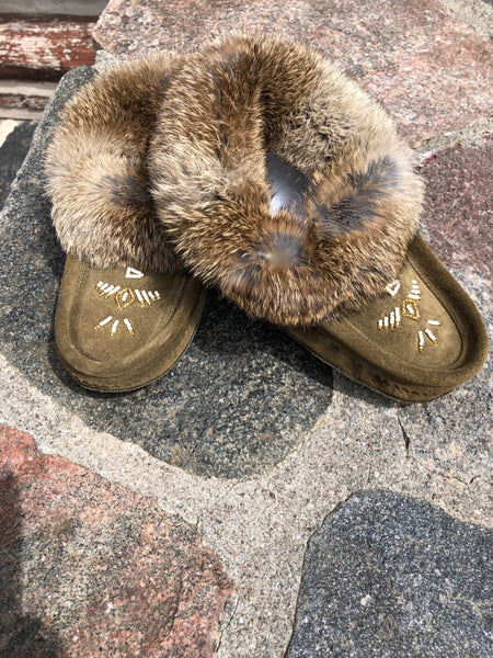 Classic Rabbit Fur Moccasin-Army