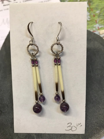 Porcupine Quill and Amethyst Earrings