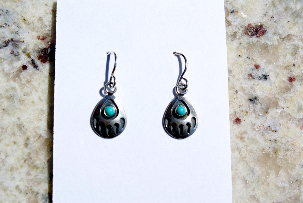 Bear Paw Turquoise Dangle Earrings