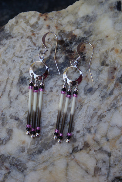 Porcupine Quill Earrings with Pink and Black Beads