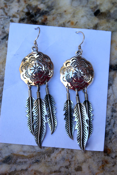 Shield with Feathers Earrings