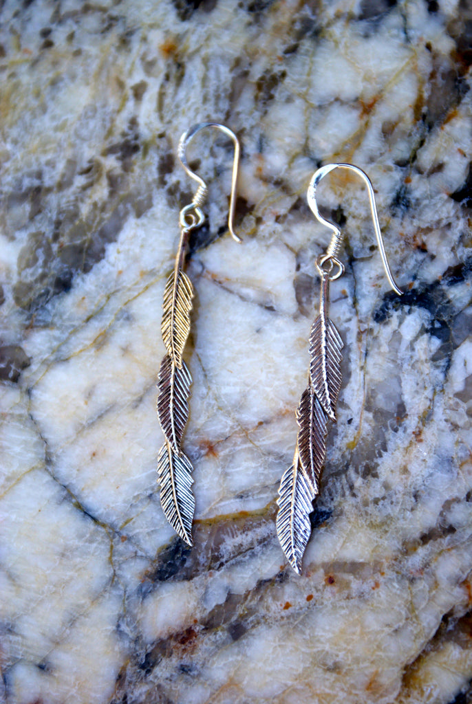 Triple Feather Earrings