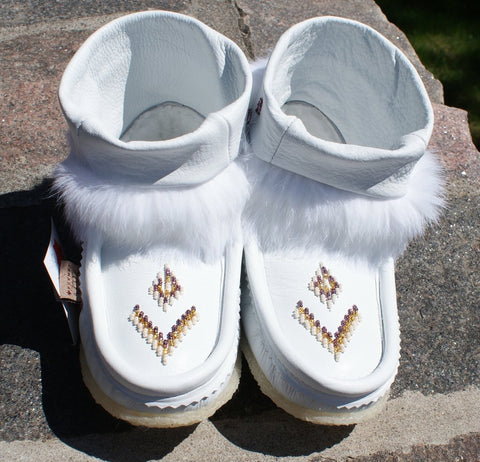 Mini Leather Mukluks-White