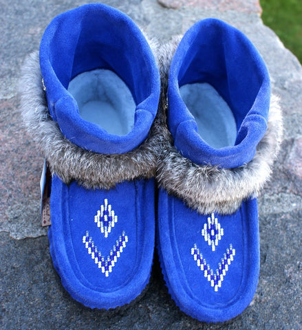 Mini Suede Mukluks-Royal Blue