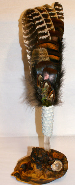 Crystal Smudge Feather with Stand
