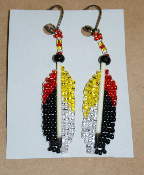 Medicine Wheel Quill and Bead Earrings