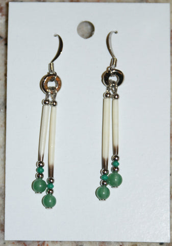 Porcupine Quill and Aventurine Earrings