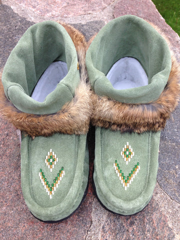 Mini Suede Mukluks-Forest Green
