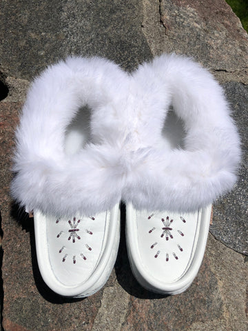 White Classic Fur Moccasins