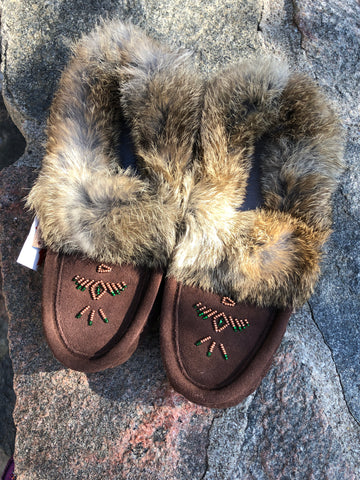 Classic Rabbit Fur Moccasins, Chocolate