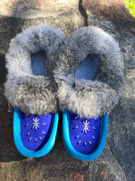 2-Tone Classic Rabbit Fur Moccasin Aqua/Royal Blue