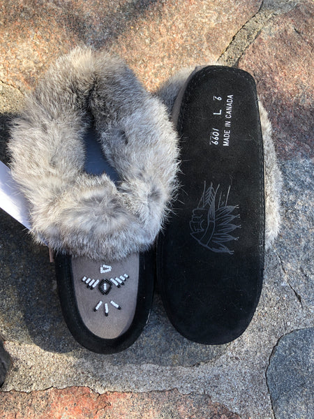 2-Tone Classic Rabbit Fur Moccasin, Grey/Black
