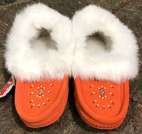 Coral Ladies Classic Fur Moccasin