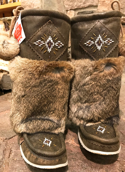 New Brown Leather Mukluks-13""