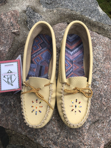 Bastien Leather Beaded Moccasin with Rubber Sole, #1135