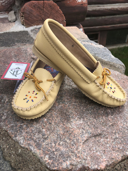 Bastien Leather Beaded Moccasin with Rubber Sole