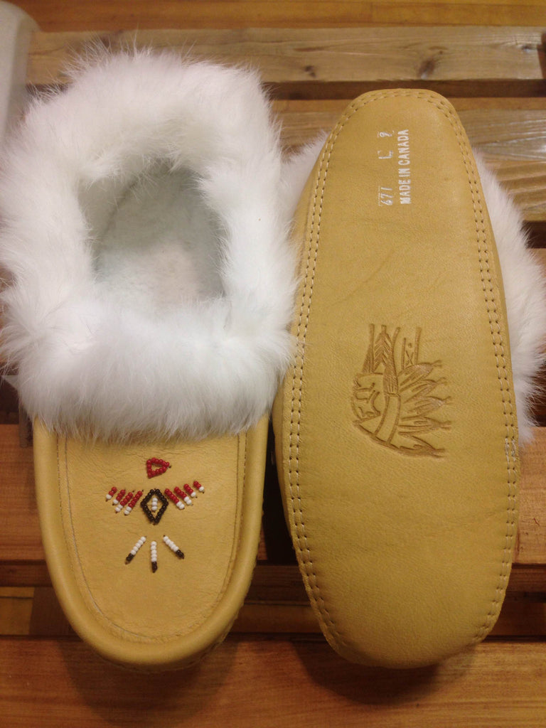 Classic Rabbit Fur and Moose Hide Moccasins