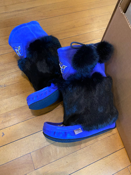 Royal Blue and Black Mukluks