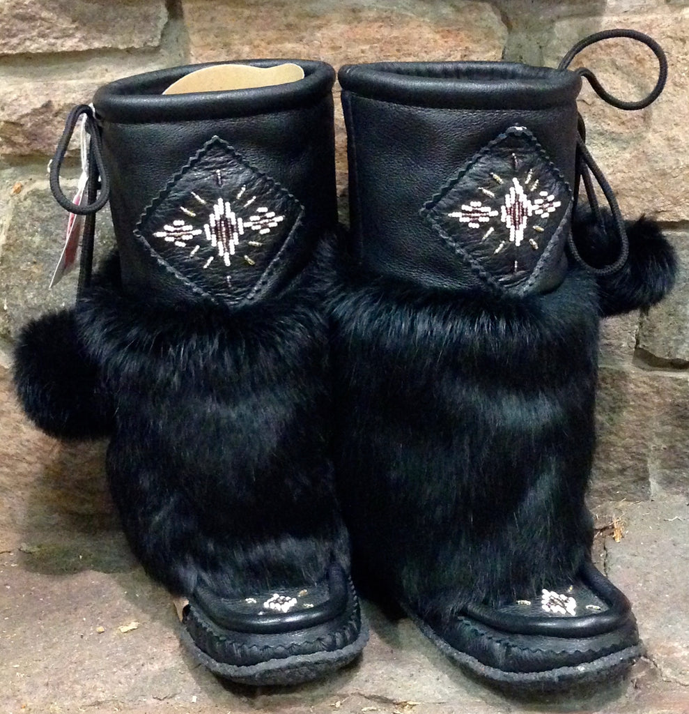 Black Leather Mukluks 13""