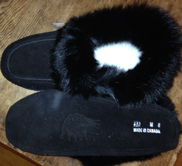 Mens Classic Rabbit Fur Suede Moccasin