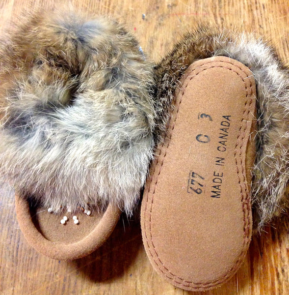 Classic Children's Suede Rabbit Fur Moccasin