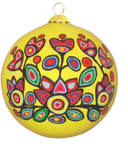 Yellow Floral Glass Ornament