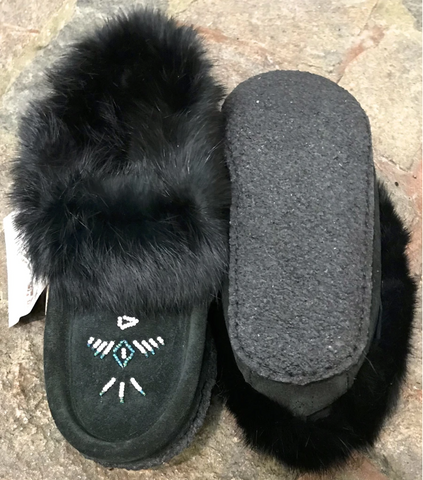 Classic Fur Moccasin with Rubber Sole in Black