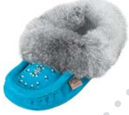 Aqua Ladies Classic Fur Moccasins