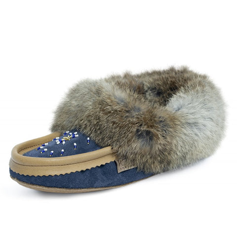 2-Tone Classic Rabbit Fur Moccasins, Navy/Moose