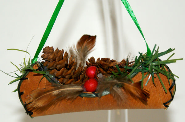 Birch Bark Canoe Ornament 4""