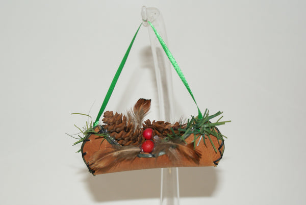Birch Bark Canoe Ornament 3""