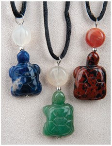 Carved Turtle Medicine Stone Necklace