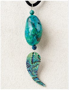 Chrysocolla Feather Medicine Stone Necklace