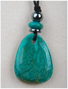 Chrysocolla Wave Medicine Stone Necklace