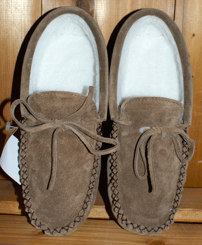 Mens Fleece Lined Suede Moccasin