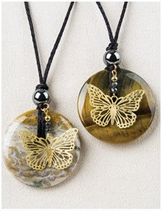 Golden Butterfly Medicine Stone Necklace
