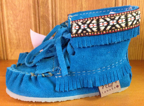 Hi-Top Children's Moccasin-Aqua