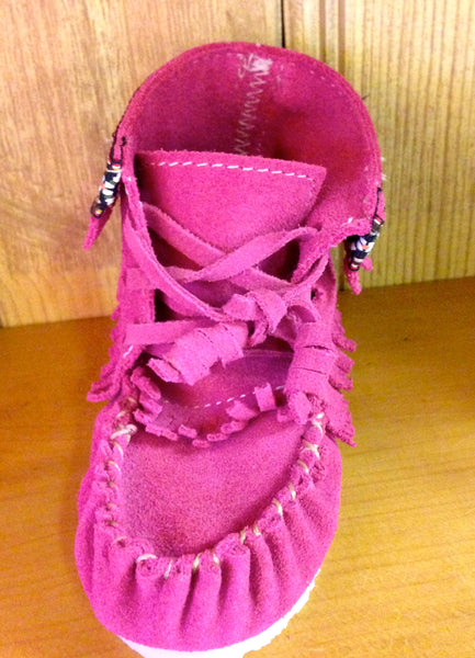 Hi-Top Children's Moccasins-Fuchsia