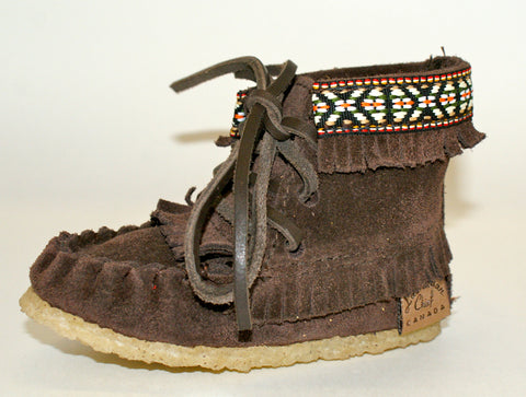 Hi-Top Children's Moccasins-Chocolate
