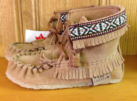 Hi-Top Children's Moccasins-Mocha