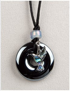 Hummingbird on Hematite Medicine Stone Necklace