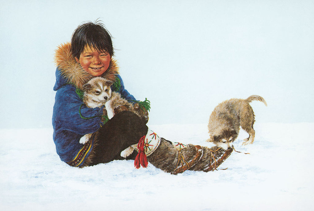Inuit Boy with Puppies